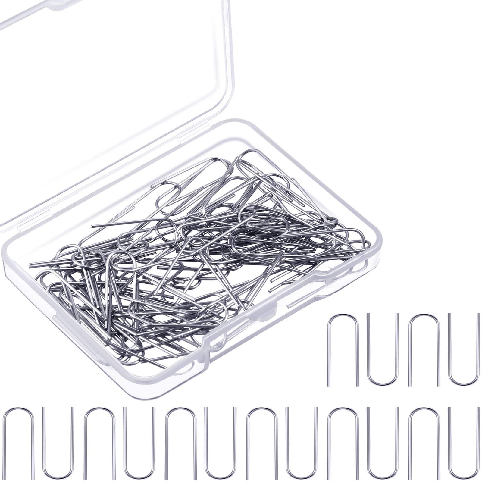 150 Pieces High Temperature Nichrome Wire Jump Rings, 21 Gauge with Plastic Storage Box, U Hanger Hooks for Pendant, Ceramic Ornaments, Fusing in Glass