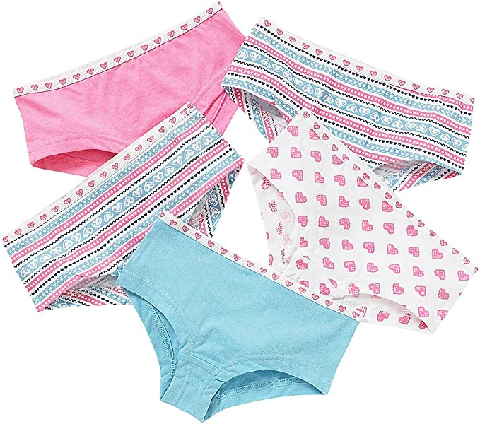Just Essentials Girls Back to School 5 Pack Cotton Unicorn Print Hipster Briefs