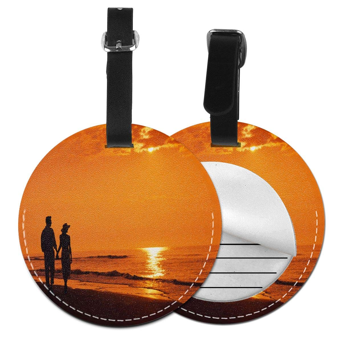 Hot Love Couple Wallpaper Luggage Tag Suitcase Backpacks ID Tag with Adjustable Strap 4 Pack by Rachel Dora