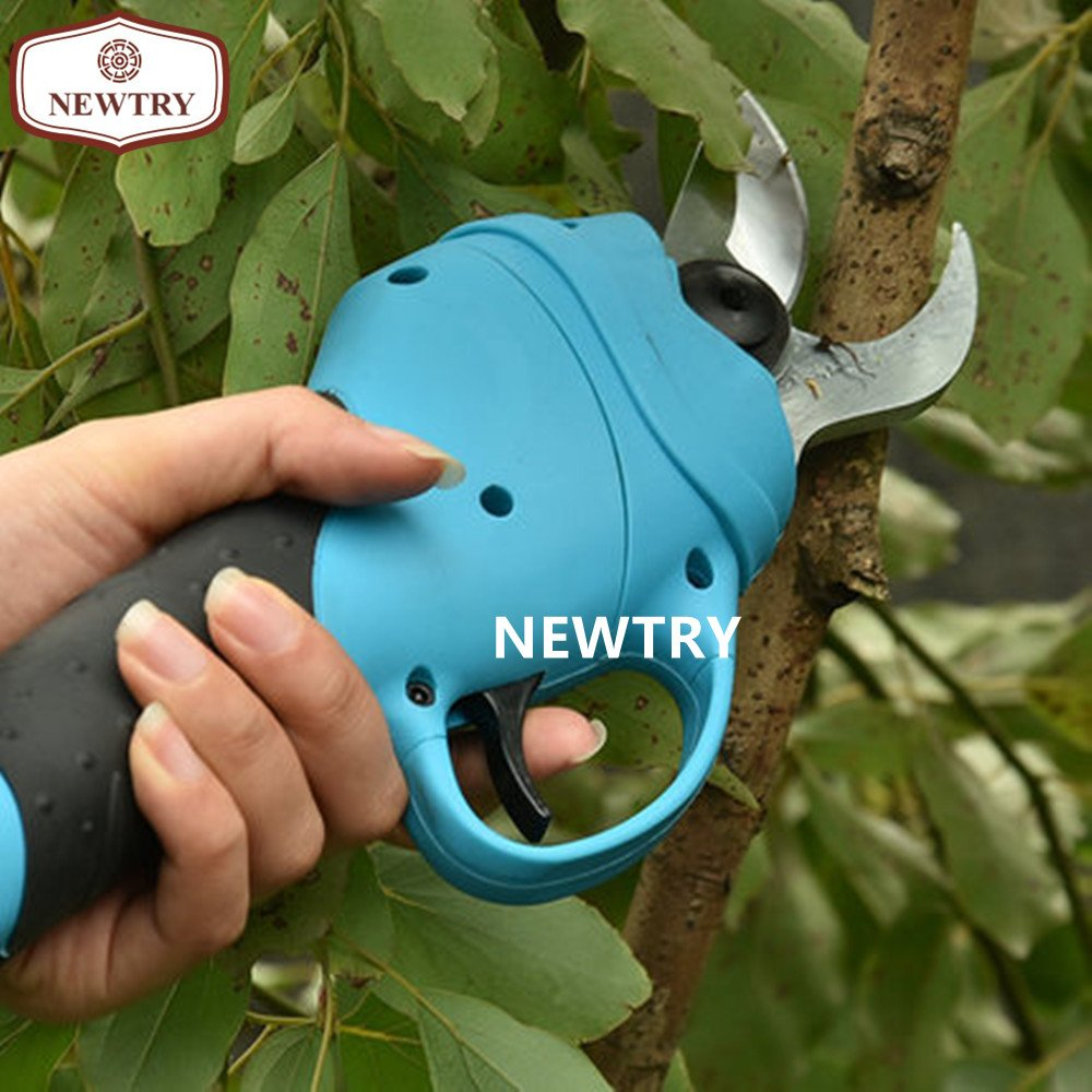 NEWTRY Rechargeable Electric Fruit Tree Pruning Scissors Garden High Branch Shear Pruner Cutter Maximum 3CM Import Blade Continuous Work 10H (The pruner with the lithium battery)