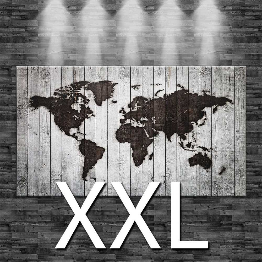 Premiumsticker24 Kunstdruck Leinwandbild Weltkarte eingebrannt in weißes Holz (Optik)   Wohnzimmer Bild Canvas Deko 110x60cm, Größe XXL