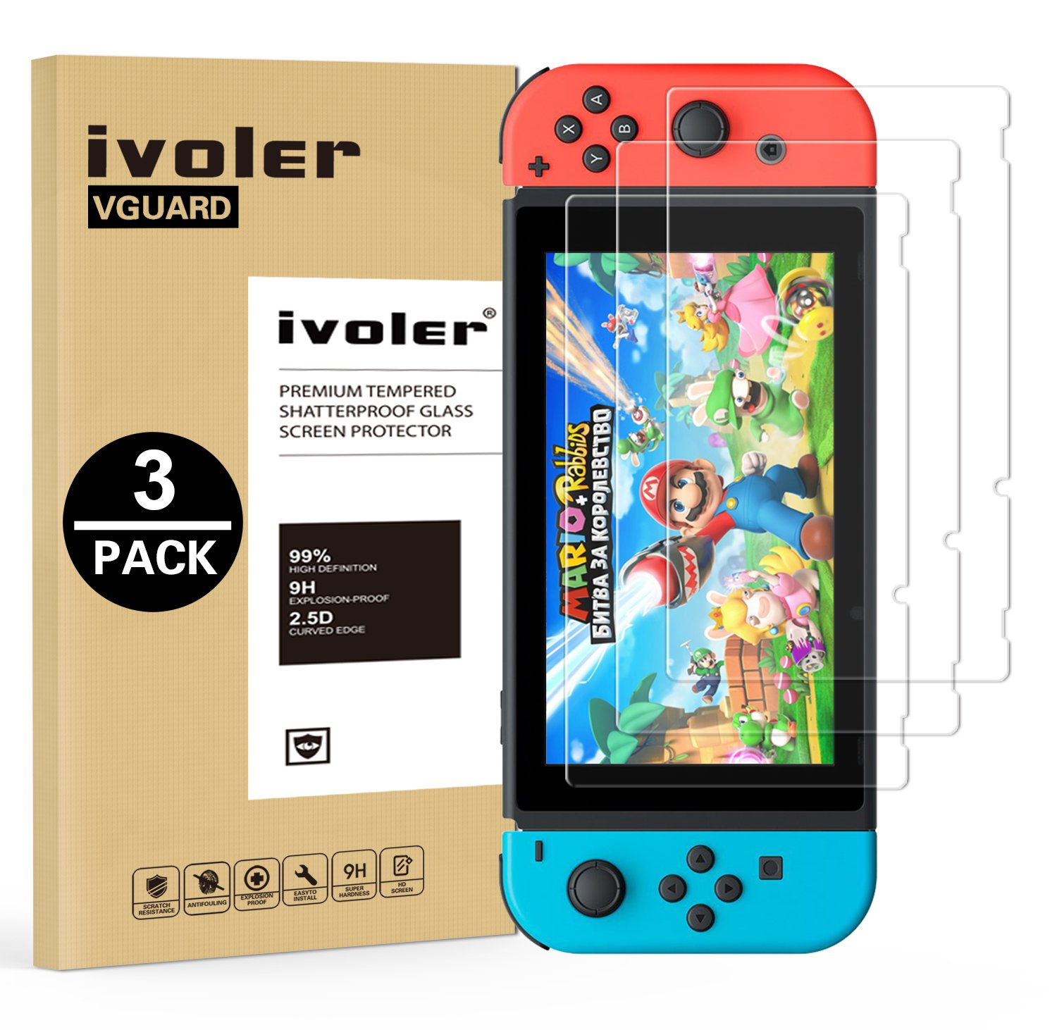 [3 Pack] Nintendo Switch Screen Protector Tempered Glass, iVoler Transparent HD Clear Anti-Scratch Screen Protector Compatible Nintendo Switch, Life Time Replacement Warranty - 71Djw4jT5FL - [3 Pack] Nintendo Switch Screen Protector Tempered Glass, iVoler Transparent HD Clear Anti-Scratch Screen Protector Compatible Nintendo Switch, Life Time Replacement Warranty