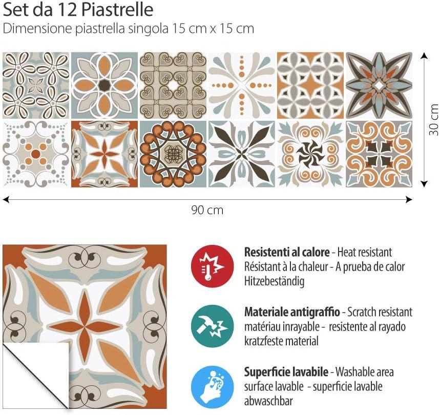 12 Pieces 15x15 cm Stickers Design Made in Italy PS00009 Adhesivo Decorativo para Azulejos para ba/ño y Cocina Stickers Azulejos