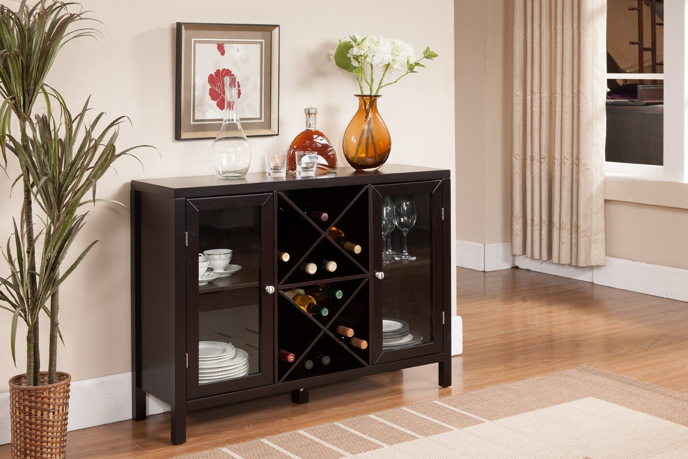 Kings Brand Furniture Wood Wine Rack Console Sideboard Table with Storage, Espresso by Kings Brand Furniture