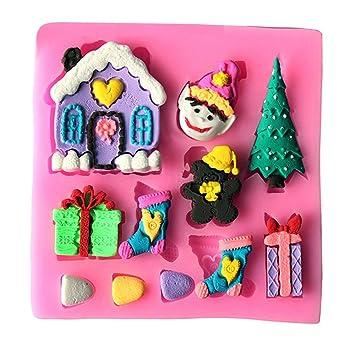Molde de silicona para uso alimentario - hogar - duende - árbol de navidad - caja