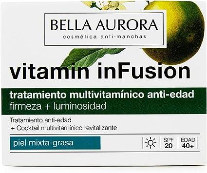Bella Aurora Vitamin Infusion, Tratamiento Anti-Edad, Ilumina, Unifica el Tono y Atenúa las Arrugas, Anti-Polución, para Piel Mixta-Grasa, 50 ml: Amazon.es: Belleza