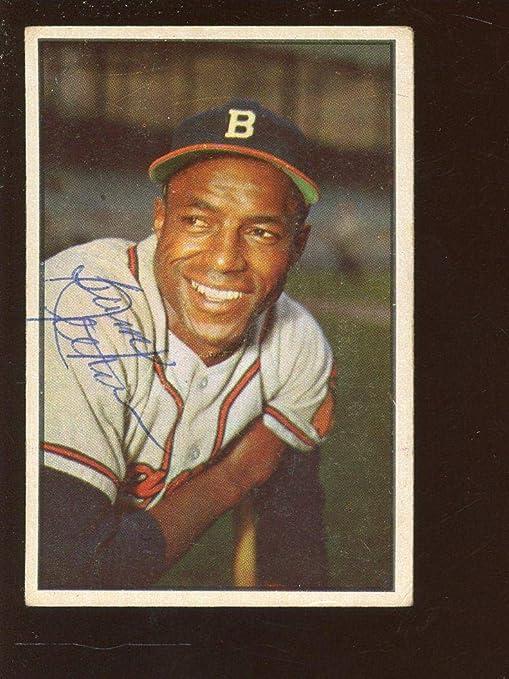 1953 Bowman Color Baseball Card 3 Sam Jethroe Autographed Ex