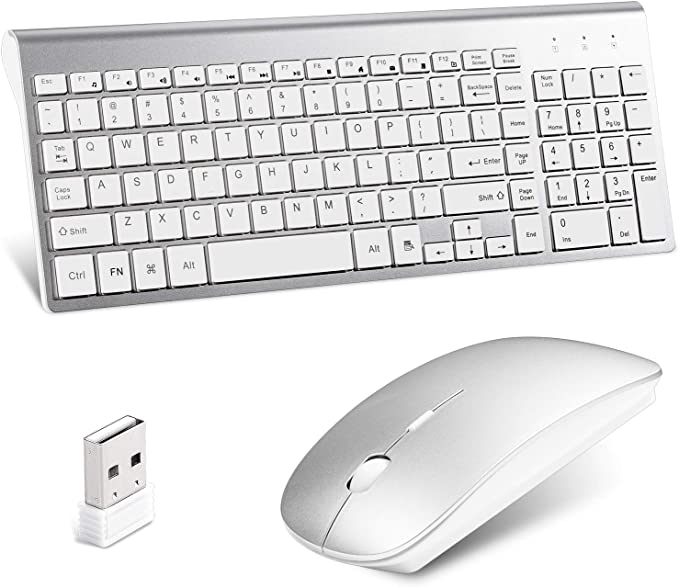 Black Wireless Mini Ultra Slim Keyboard and Mouse For Easy Smart TV Contol for LG 32LA620V 32-inch Smart TV