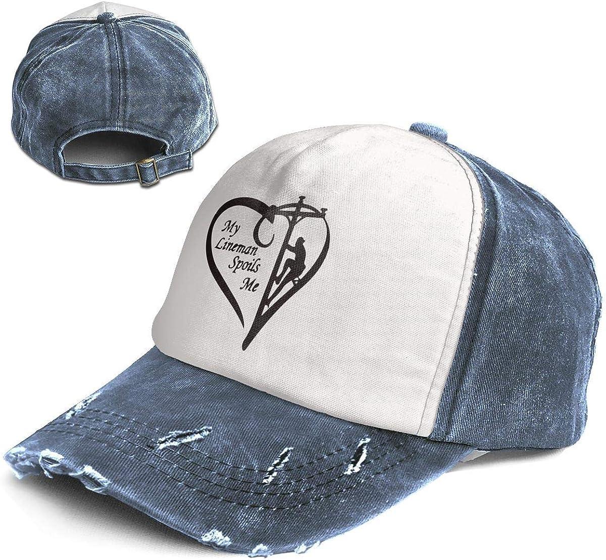 Fashion Vintage Hat My Lineman Spoils Me Adjustable Dad Hat Baseball Cowboy Cap