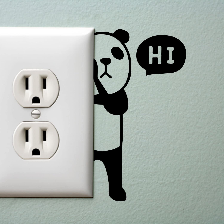 1.8 x 3.3, Green Cute Panda Light Switch Vinyl Sticker Panda Bear with Hi Quote Wall Art Decal Laptop Skin 1.8 x 3.3 Decoration Vinyl Sticker Kids Room Wall Art Decoration