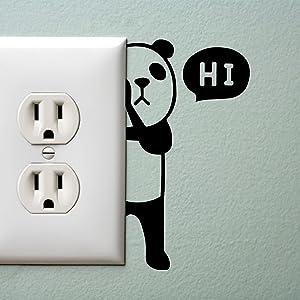 "Panda Bear with Hi Quote Wall Art Decal - 1.8"" x 3.3"" Decoration Vinyl Sticker - Cute Panda Light Switch Vinyl Sticker - Laptop Skin - Kid's Room Wall Art Decoration (1.8"" x 3.3"", Black)"
