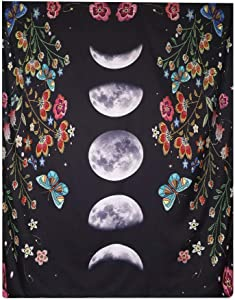 """Moonlit Garden Tapestry Moon Phase Tapestry Moon Surrounded by Vines Watercolor Flower Floral Garland Black Backdrop Tapestry Butterflies Tapestry for Bedroom Living Room Dorm. (Multicolor1, 78""""L*59""""W)"""
