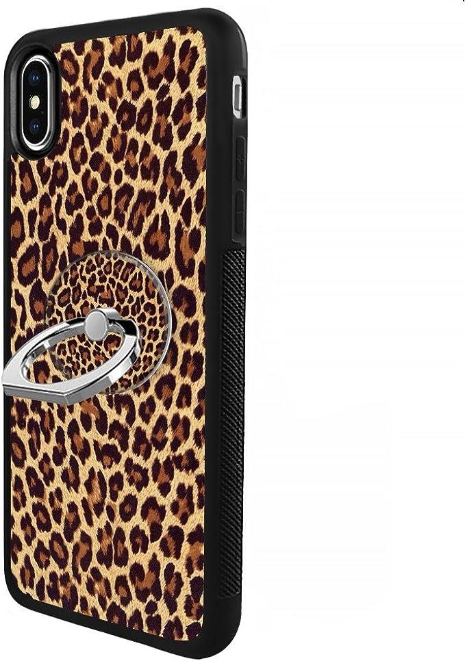 Coque iPhone avec Support Anneau TPU Noir iPhone 6s 6 léopard