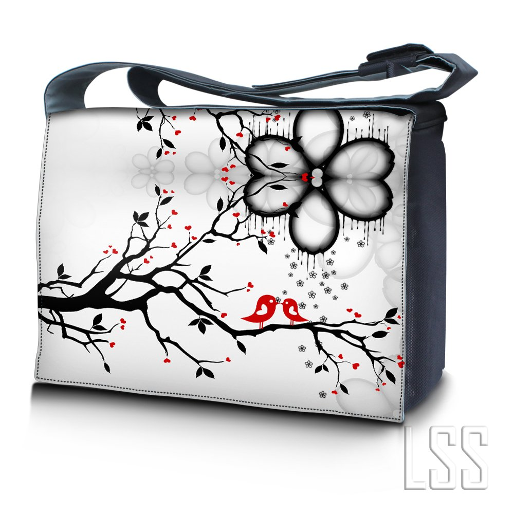 LSS 17 17.3 inch Laptop Padded Compartment Shoulder Messenger Bag Carrying Case for 16'' 17'' 17.3'' or Smaller Size Notebook - Love Birds