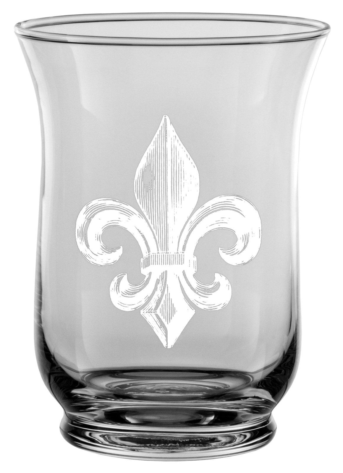 Small Glass Hurricane Candle Shade w/ White Fleur de Lis Decal, Set of 2 - 6''H