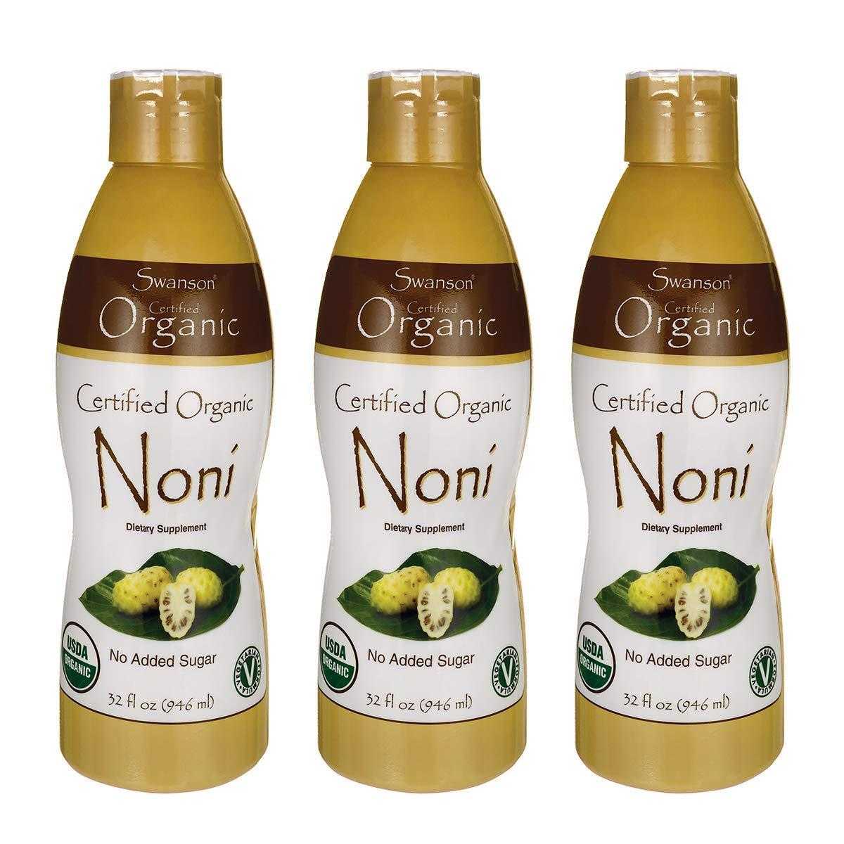 Swanson Certified Organic Noni 32 fl Ounce (1 qt) (946 ml) Liquid (3 Pack)