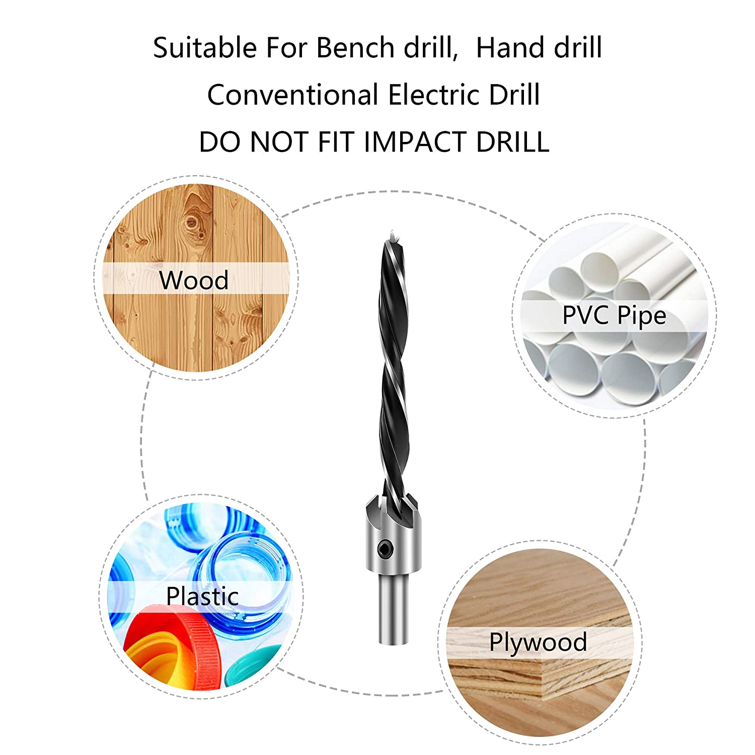 7 PCS 3-10mm Drill Bit Set with One Hex Key High-Speed Steel Drill Adjustable Carpentry Reamer Plated for Wood DIY Countersink Drill Bit