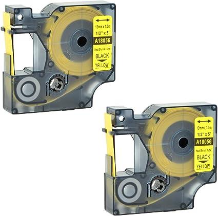 "2 PK Heat-Shrink Tube 18056 IND Label Tape for DYMO Rhino 4200 5200 6000 1//2/"""