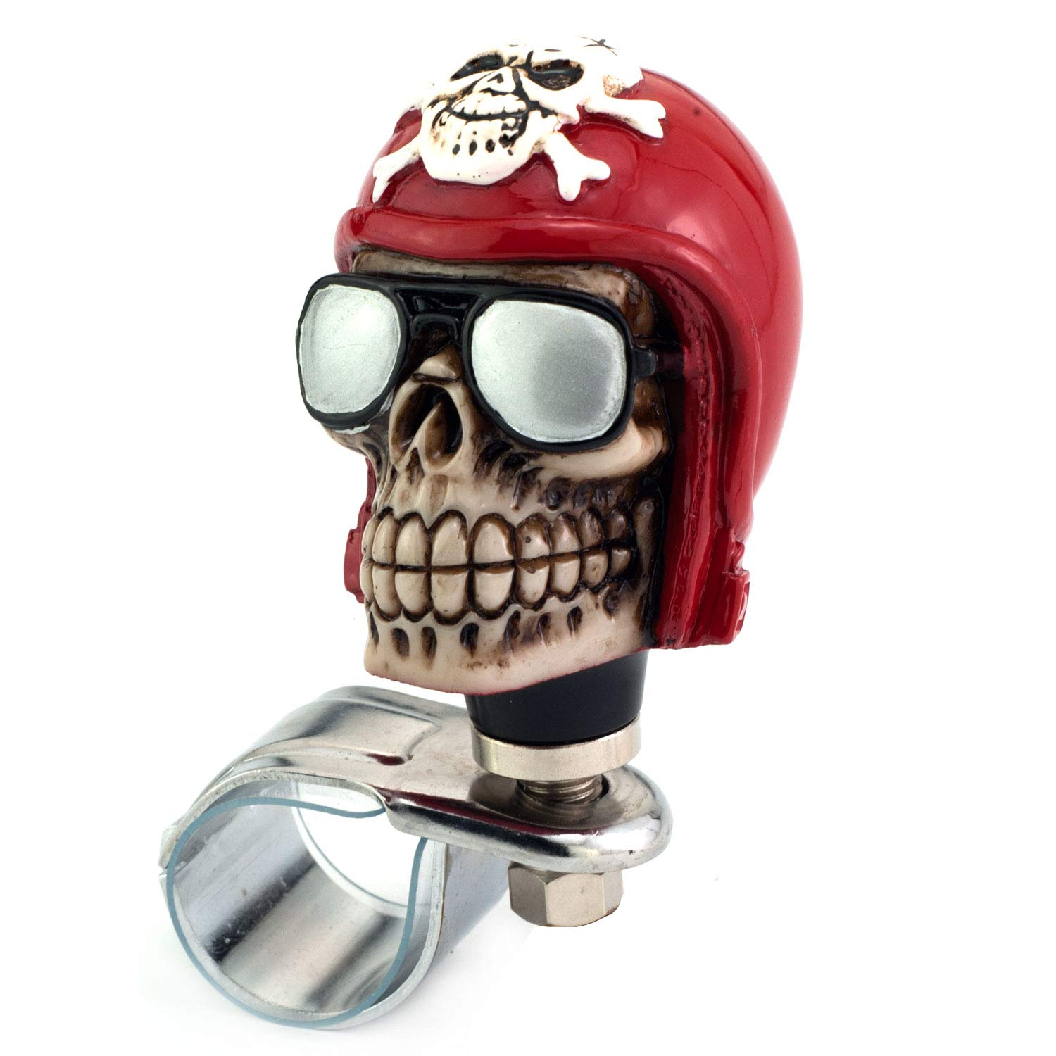 Thruifo Skull Car Steering Spinner Wheel Suicide Knob, Pilot Style Car Power Handle Grip Knobs Fit Most Manual Automatic Vehicles, Red