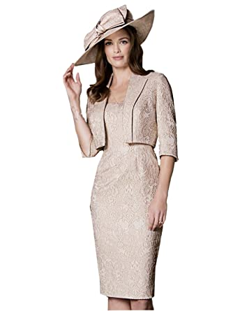 dressvip Women Light Champagne Lace Knee Length Formal Dresses with Jacket (22)