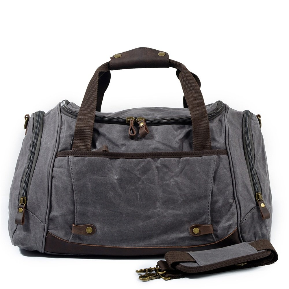 Travel Duffel Canvas Bag Wax Waterproof Canvas Handbag Crossbody Bag Large Luggage Travel Outdoor Sports Fitness Bag Gym Sports Luggage Bag