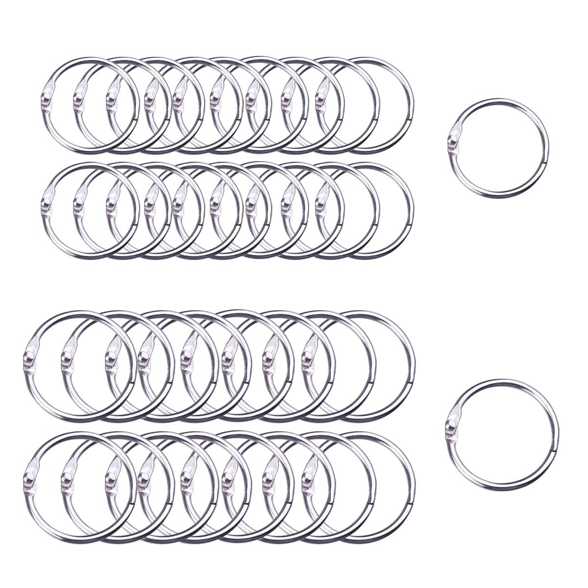 Hautoco 100Pcs Binder Rings, 50pcs Book Rings 1.2 Inch and 50pcs Loose Leaf Binder Rings 1.4 Inch Set for School Office