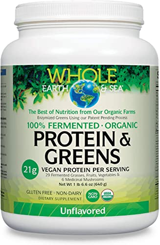 Whole Earth Sea from Natural Factors, Organic Fermented Protein Greens, Vegan Superfood Powder, Unflavored, 1.41 Lbs