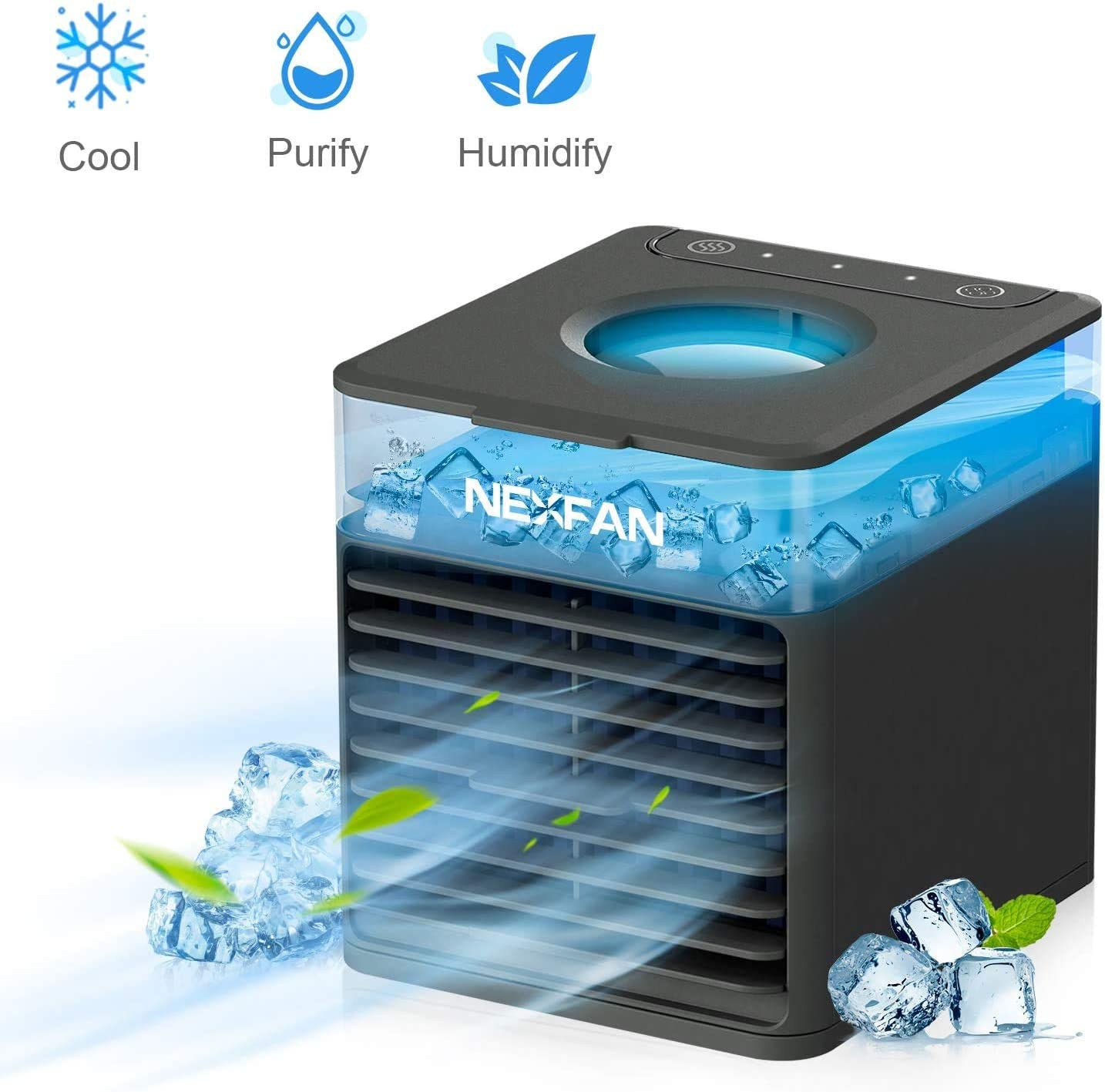 NexFan 4-in-1 Air Conditioner - Mini USB Space Cooler - Evaporative Cooler Air Humidifier With LED Lights - 3 Wind Speed Desktop Fan Suitable for Home/Office/Outdoor (Black)