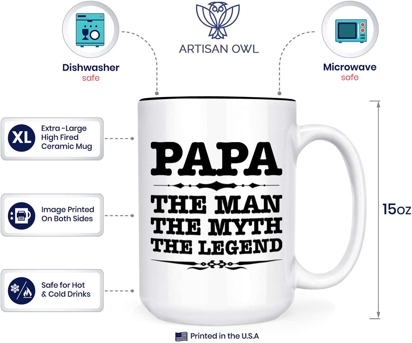 Amazon Com Papa The Man The Myth The Legend 15 Oz Deluxe Large Double Sided Mug Kitchen Dining