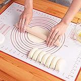 クッキングマット シリコンマット 40×60㎝ 大きいサイズ 製菓マット パンマット 目盛り付きマット 食品級シリコーン 滑り止め 調理 製菓道具 (レッド、40x60cm)