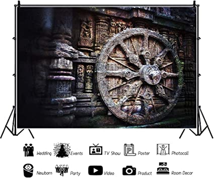 YEELE 10x8ft Konark Sun Temple Backdrop Ancient Asia Culture Photography Background Religious Pray God Photo Booth Studio Props Digital Wallpaper