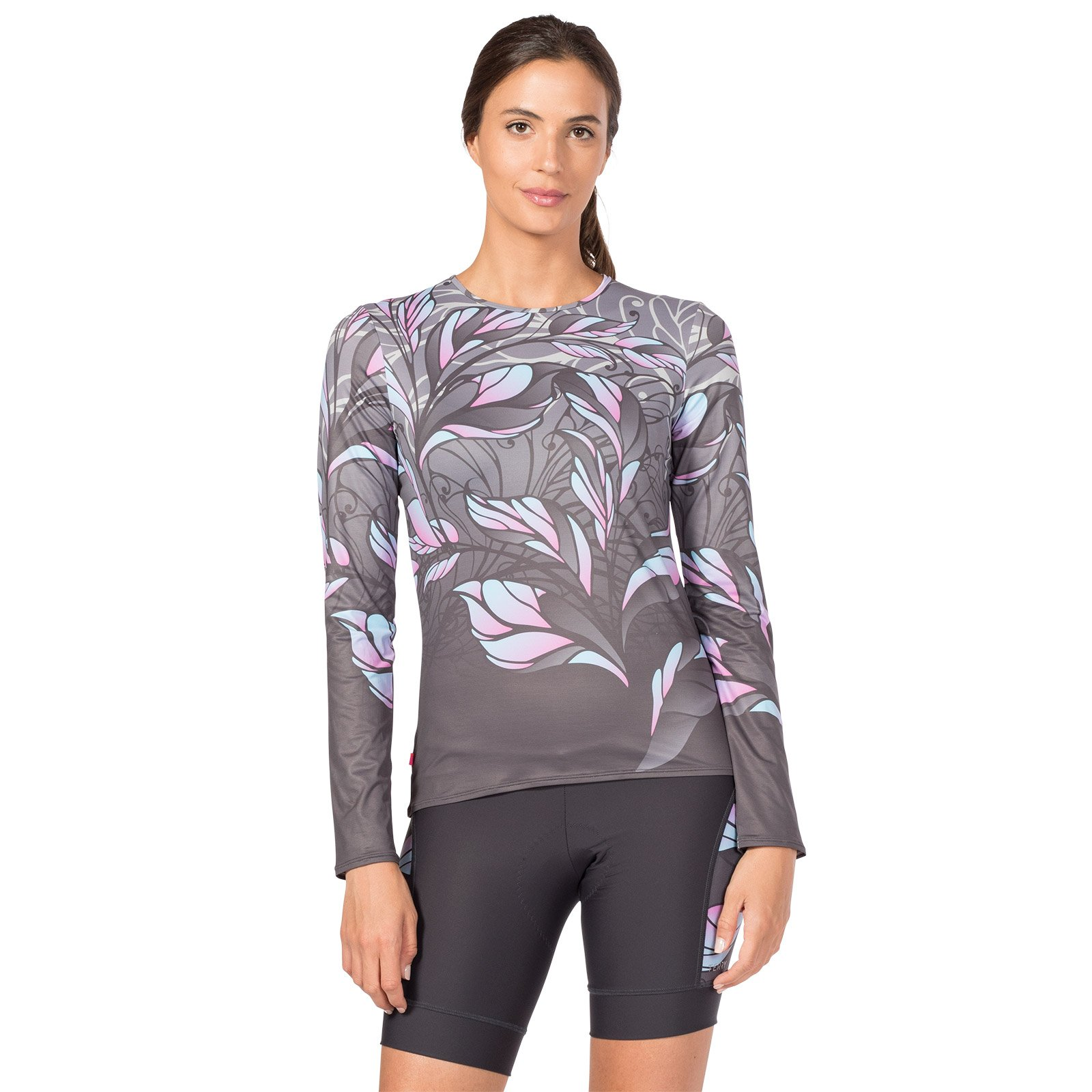 Terry Soleil Long Sleeve Cycling Top - #1 Selling Women's Cycling Top Lightweight Long-Sleeve Bicycle Jersey, Sports Dry Athletic Fit Layer T-Shirt - UPF 50+ - Painted Lady/Silver - Medium