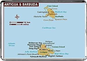 M009 MAP of Antigua and Barbuda Fridge Magnet Antigua and Barbuda Travel Refrigerator Magnet