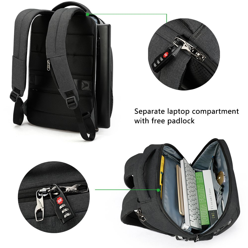 Amazon.com: TIGERNU Slim Laptop Backpack Anti Theft Waterproof Mochila Rucksack with USB Charging Port Travel Business School Bag for Men Women Fit 14/15.6 ...