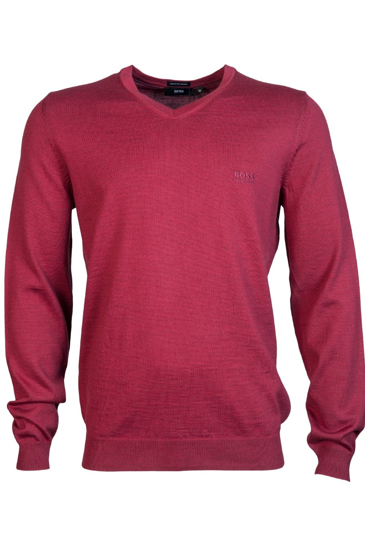 HUGO BOSS Mens V Neck Knitwear BARAM-L 50373737 Size L Red