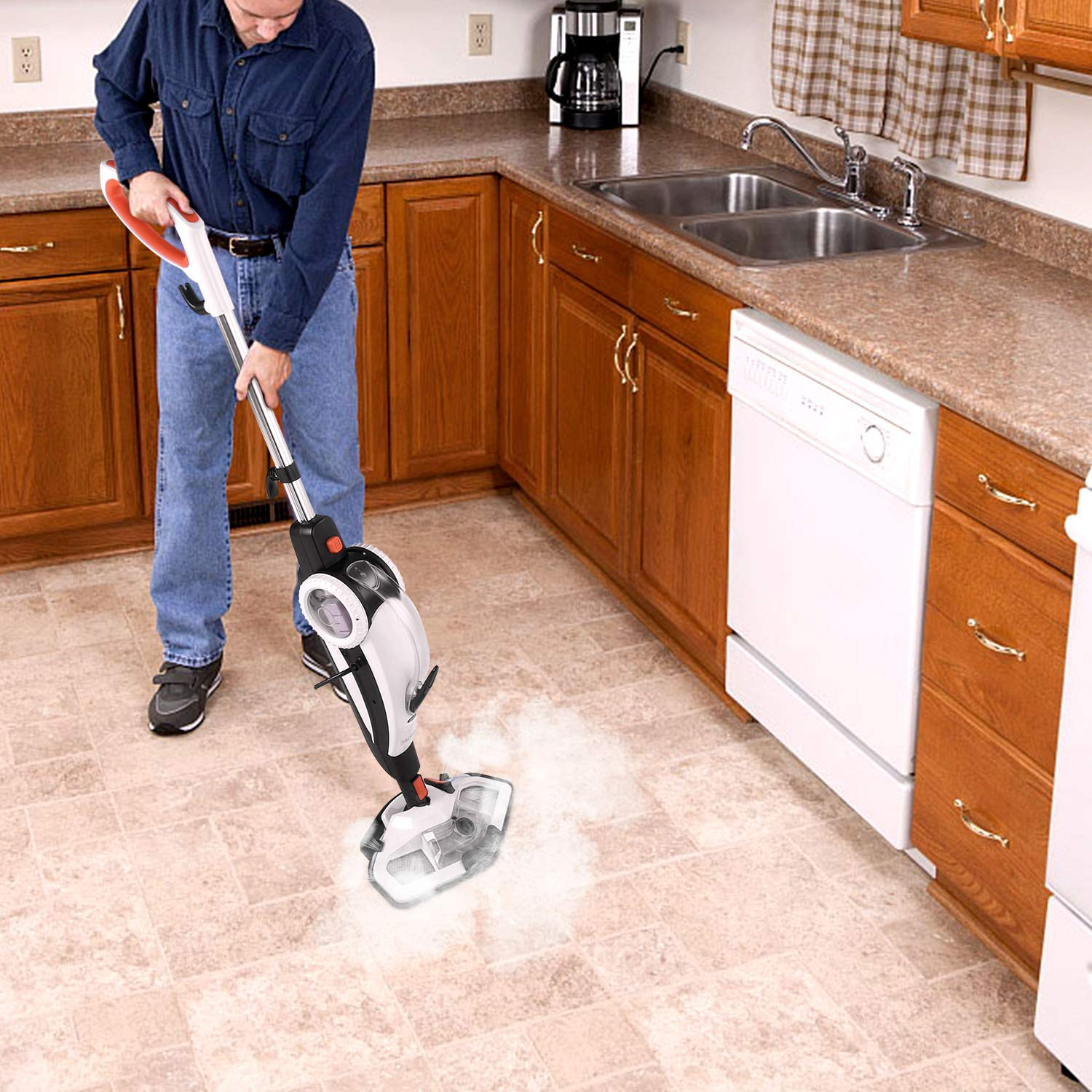 TACKLIFE Steam Mop, Steam Cleaner Multifunction Floor Steamer and Hand-held Steam Floor Mop 2 in 1, 1400W Portable Electric Scrubber Heating in 5s, with 11 Accessories by TACKLIFE (Image #7)