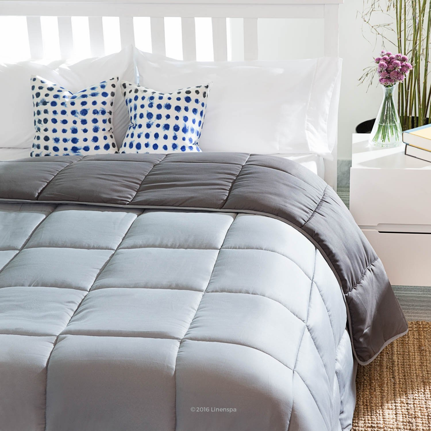 Quilted Comforter with Corner Duvet Tabs - Stone/Charcoal
