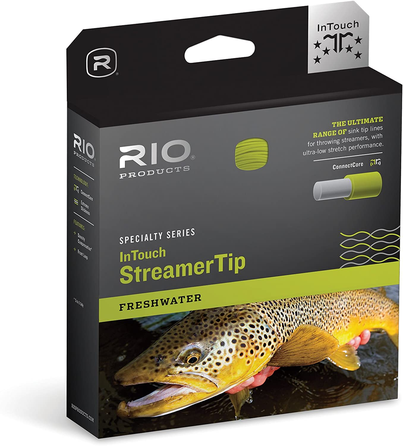 RIO Products Fly Line Intouch Streamertip 10' INT. Wf6F/I, Gray-Yellow-Pale-Green