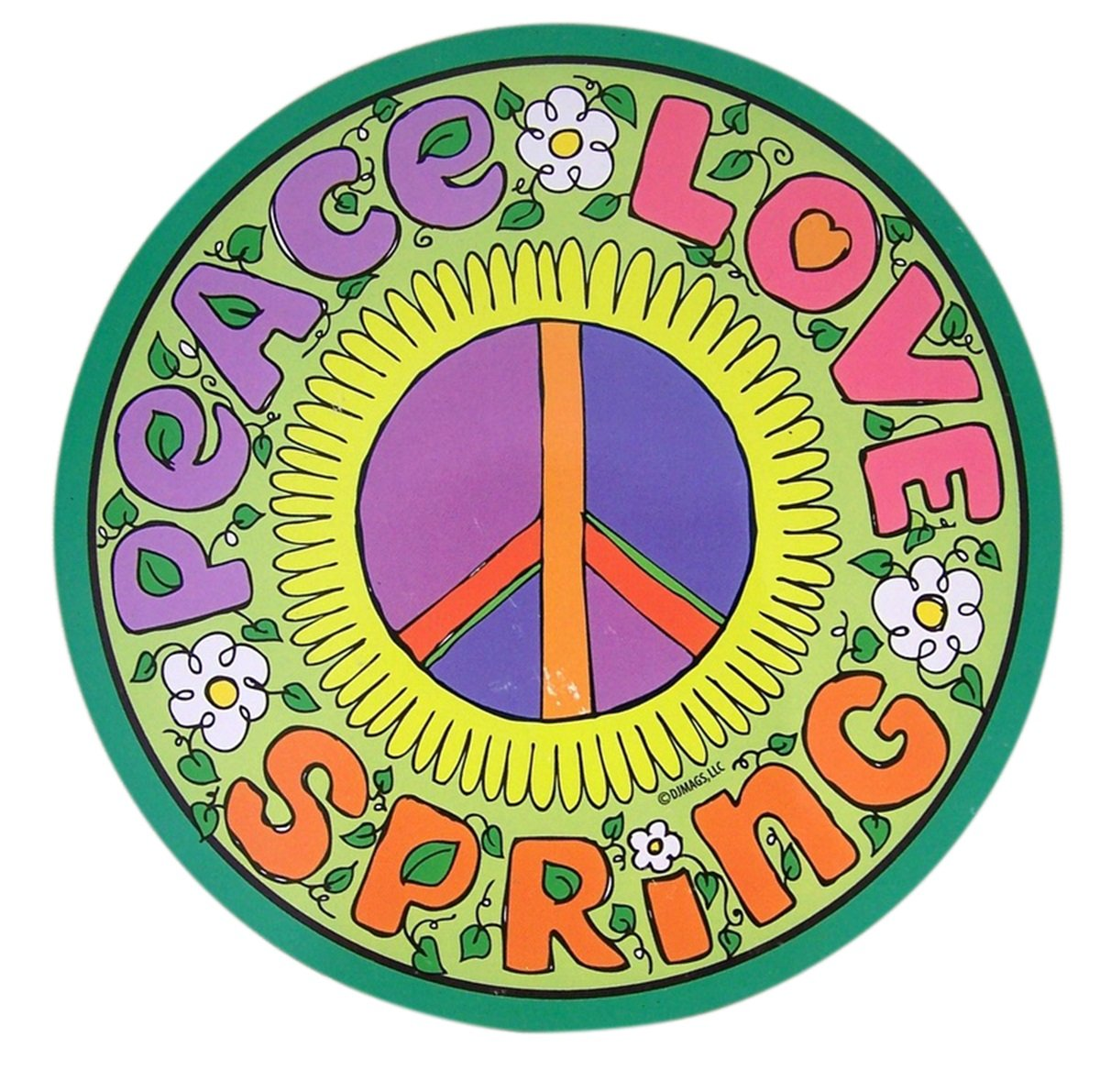 Mad Mags Peace Love Spring Floral Round Car Magnet Decal 5 3//4 Inch