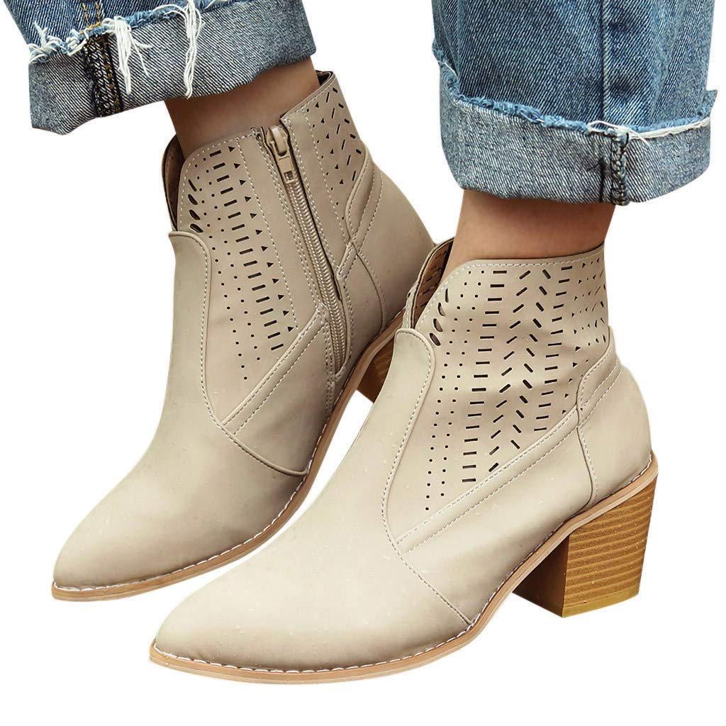 Women's Cutout Chunky Heel Ankle Bootie - Vintage Casual Slip On Loafer Pointed Toe Dressy Shoes (Beige, US:8.0)