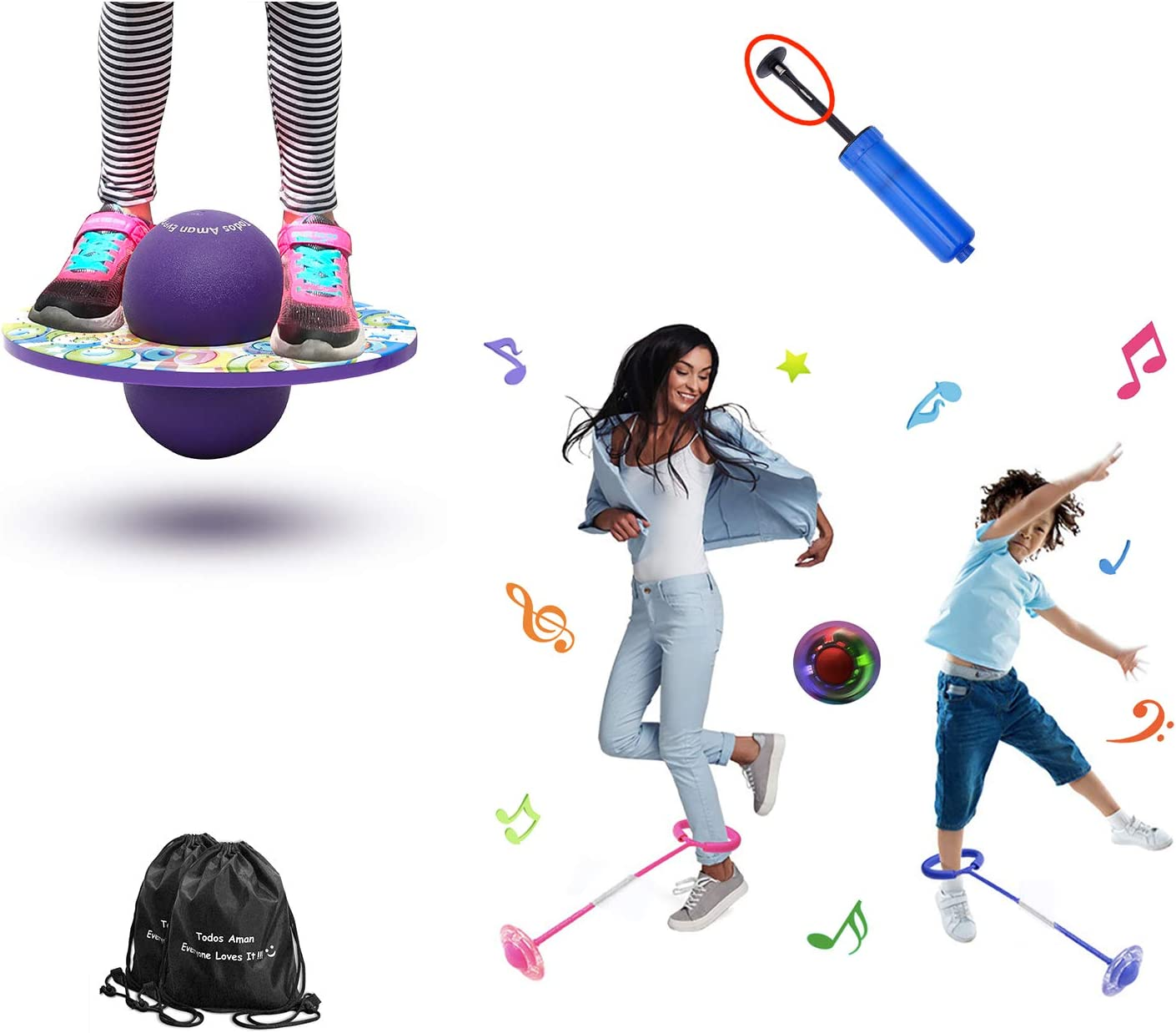 Todos Aman Pogo Ball /& Foldable Flashing LED Skip Cool Fun Challenge Jump Bounce Exercise Fitness Balance Coordination Burn Fat for Adults /& Kids Great Deal /& Gift