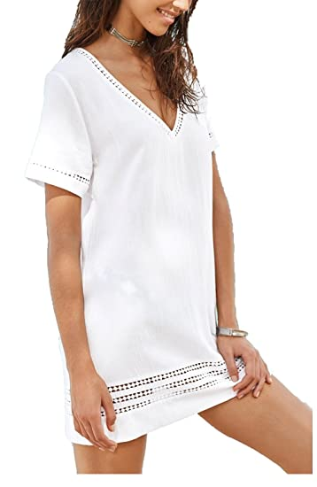 31617796b1 Wander Agio Beach Tops Perspective Cover Up Bikini Covers Printing Cover-ups  Beads White at Amazon Women's Clothing store: