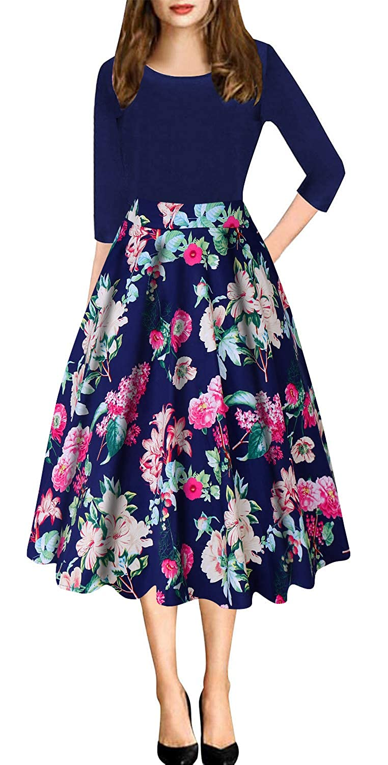 Navy bluee Women's Vintage Patchwork Pleated ALine Swing Casual Party Dress