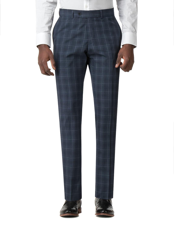 Jeff Banks Brit Slate Blue Check Super Slim Fit Suit Trousers