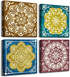 4 piece Framed Canvas Wall Art for Living Room family bathroom Wall decor Retro pattern Abstract painting farmhouse kitchen Bedroom Decoration Grilles abstract canvas pictures Artwork for home walls
