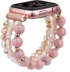 CAGOS Bracelet Beadeds Compatible with Apple Watch Band 42mm/44mm Series 6/5/4/3/2/1 Cute Handmade Fashion Elastic Stretch Beaded Strap Replacement with Stainless Steel Adapter for iWatch Pink