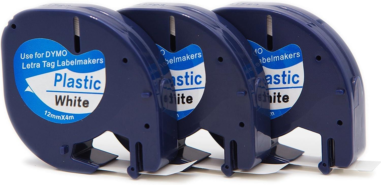 Compatible Dymo Label Maker LT-100H LT-100T LT-110T QX 50 XR XM 2000 Plus Label Printer 5X Replace DYMO Letratag LT s0721660 91201 91221 Plastic Label Tape Black on White12mm Labelling Cassette