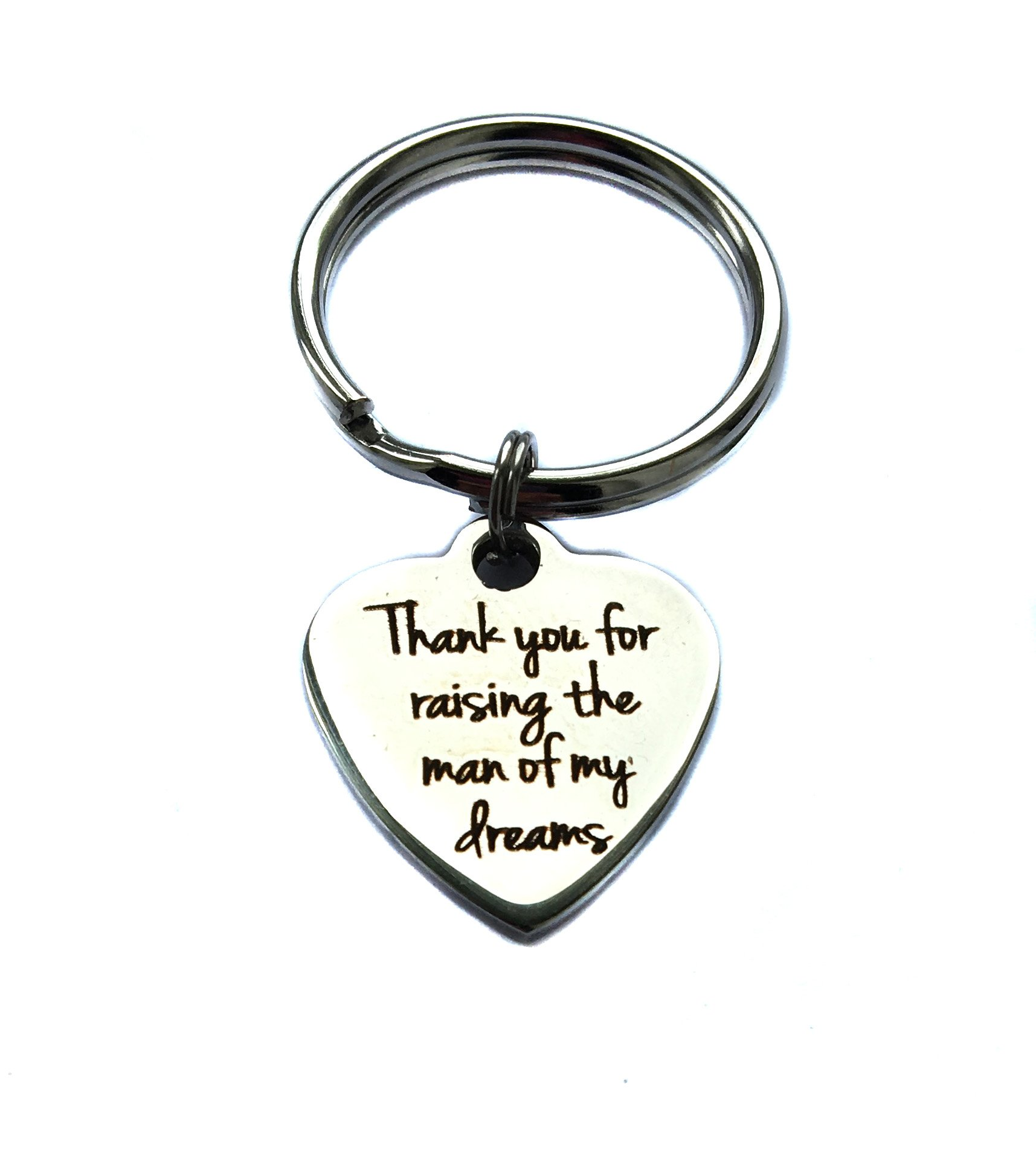 Stainless Steel Thank You For Raising The Man Of My Dreams Heart Charm, Mother-In-Law Gift