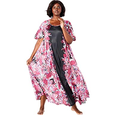 5e136029ed338 Only Necessities Women s Plus Size Sweeping Printed Lounger - Black Multi  Floral