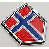 Car Chrome Decals CBSHD158 Norway Norwegian Flag Car Chrome Emblem 3D Decal bumper Sticker